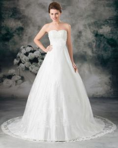 Sweetheart Applique Embroidery Floor Length Lace Empire Wedding Dress