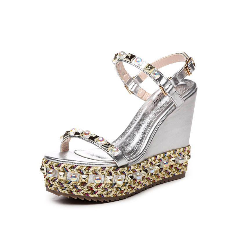 Chic / Beautiful Outdoor / Garden Womens Sandals 2017 PU Braid Pearl Rivet Wedges Open / Peep Toe Sandals