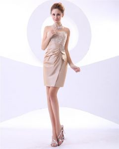 Taffeta Ruffles Bead Strapless Short Mini Cocktail Dress