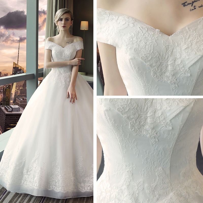 Affordable Modest / Simple Church Wedding Dresses 2017 Lace Appliques Backless V-Neck Off-The-Shoulder Short Sleeve Floor-Length / Long White Ball Gown