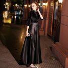 Modern / Fashion Black See-through Suede Evening Dresses  2019 A-Line / Princess High Neck 3/4 Sleeve Crystal Floor-Length / Long Ruffle Satin Formal Dresses