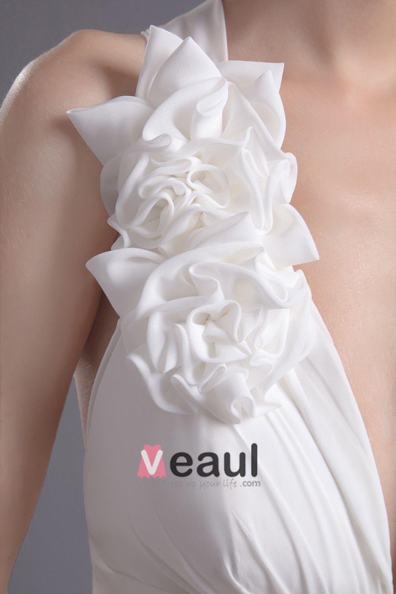 Mousseline De Soie Fleur Col En V Etage Longueur Pinceau Train Robe De Mariée Empire De La Mode