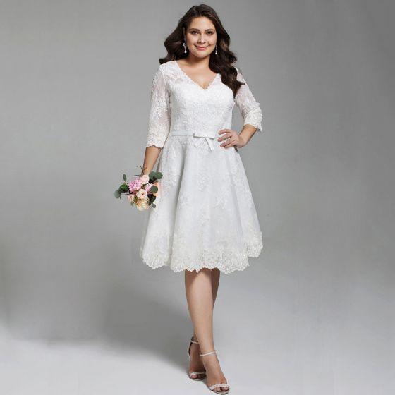 Chic Beautiful White Short Plus Size Wedding Dresses 2020 A Line Princess V Neck 1 2,Wedding Dresses Toronto