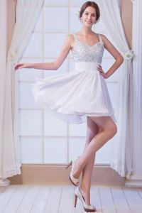 2015 Perfect Chiffon Beading A-line White Cocktail Dress