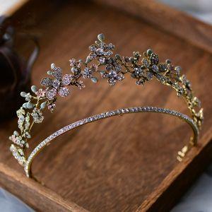 Elegant Gull Tiara Har Tilbehor 2020 Legering Rhinestone Bryllup Tilbehør