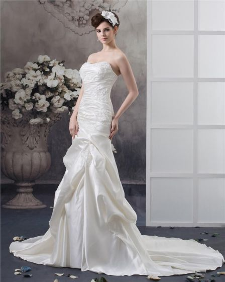 Strapless Beading Ruffle Floor Length Satin Sheath Wedding Dress