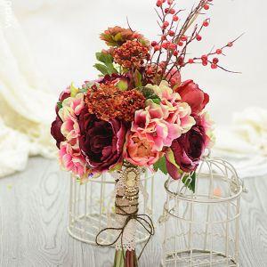 Simulation Kunstseideblume Nostalgischen Teerose Beerenmaische Brautsträuße Halten Blumen Brautstrauß