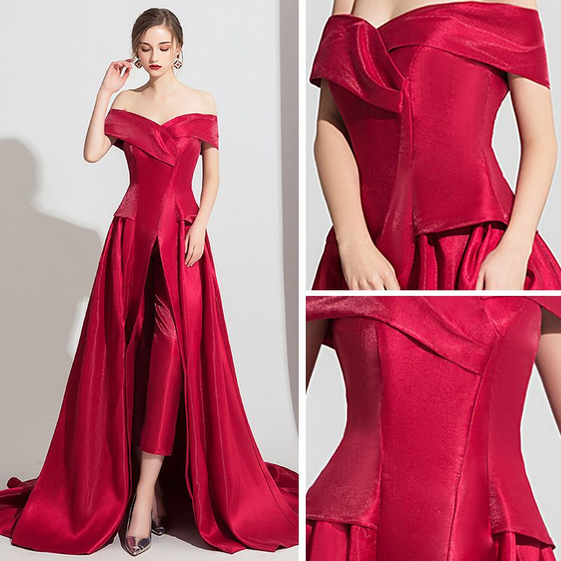 Modest / Simple Burgundy Satin Jumpsuit 2019 Off-The-Shoulder Short Sleeve Sweep Train Backless Evening Dresses