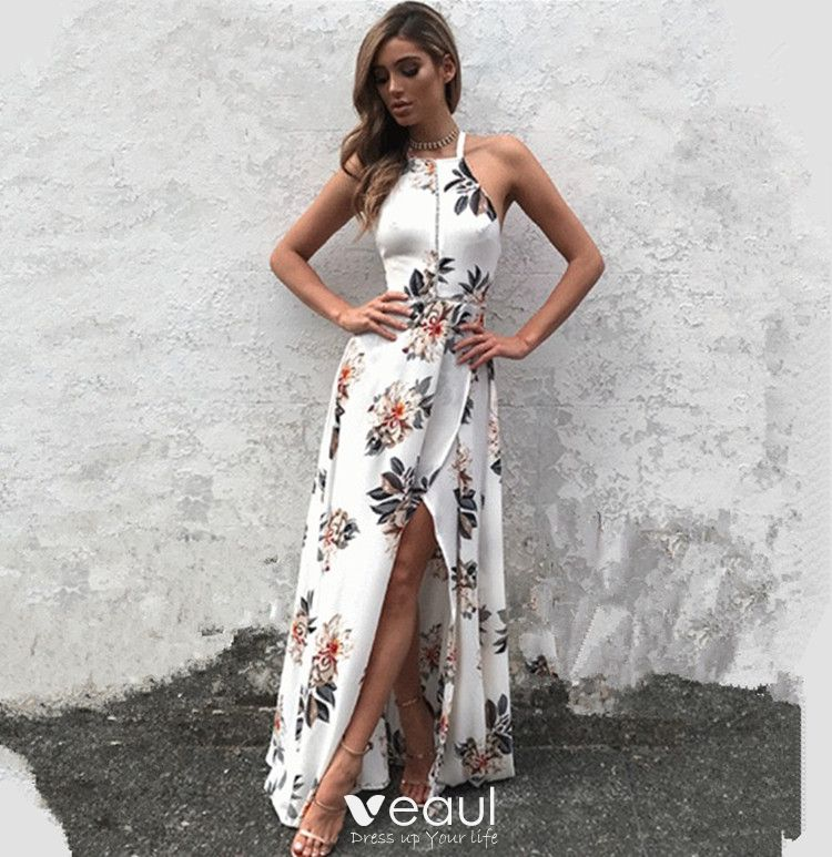 Sexy White Maxi Dresses 2018 Printing Split Front Halter Backless