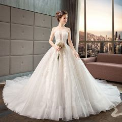 Classy Ivory Wedding Dresses 2019 A-Line / Princess Beading Pearl Sequins Lace Flower Sleeveless Backless Royal Train