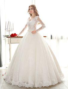Luxus Ballkleid Brautkleid Mit V-ausschnitt Durchbohrte Spitze Hochzeitskleider Mit Pailletten