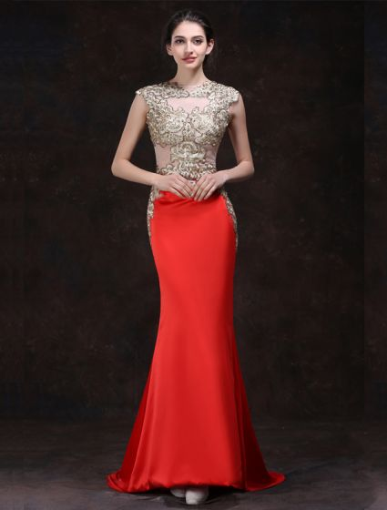 Sexy Red Evening Dresses 2016 Mermaid Square Neckline Beading Rhinestone Gold Lace Formal Dress
