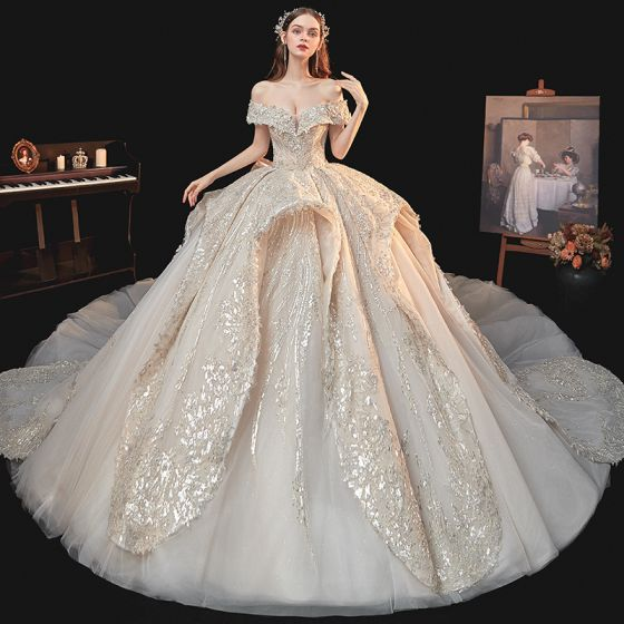 Luxury / Gorgeous Champagne Bridal Wedding Dresses 2020 Ball Gown Off-The-Shoulder Short Sleeve Backless Sequins Beading Glitter Tulle Royal Train Ruffle