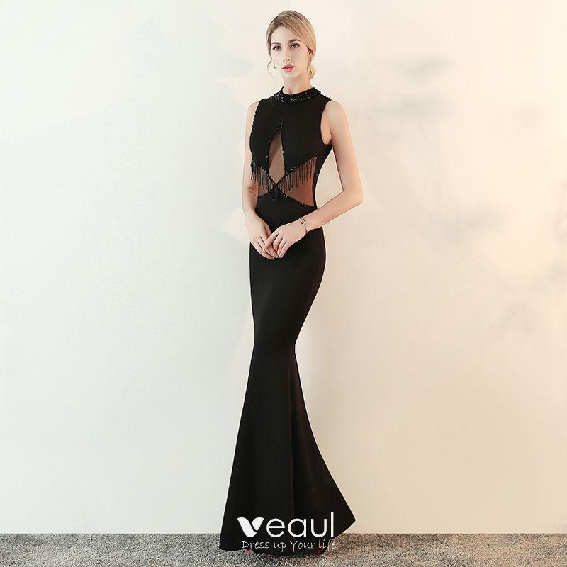 Moda Negro Transparentes Vestidos De Noche 2018 Trumpet Mermaid Cuello Alto Sin Mangas Rebordear Tassel Largos Vestidos Formales