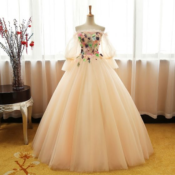 Chic / Beautiful Champagne Prom Dresses 2017 Ball Gown Off-The-Shoulder Long Sleeve Appliques Flower Rhinestone Floor-Length / Long Ruffle Backless Formal Dresses