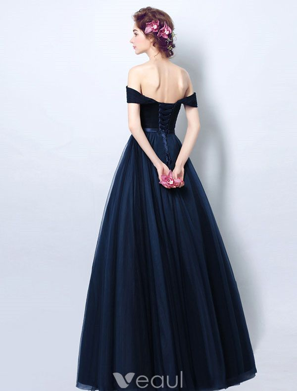 Vintage Navy Blue Evening Dress Pleated Tulle Off The Shoulder Long Dress