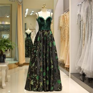 Vintage / Retro Dark Green Evening Dresses  2019 A-Line / Princess Spaghetti Straps Suede Beading Crystal Sleeveless Backless Printing Floor-Length / Long Formal Dresses