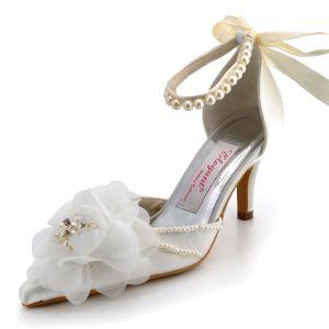 Spring Flowers Handmade Custom Strap High-heeled Pointed Beige Wedding Shoes