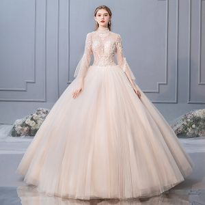 Elegant Champagne Wedding Dresses 2019 Ball Gown High Neck Beading Sequins Lace Flower Long Sleeve Backless Floor-Length / Long