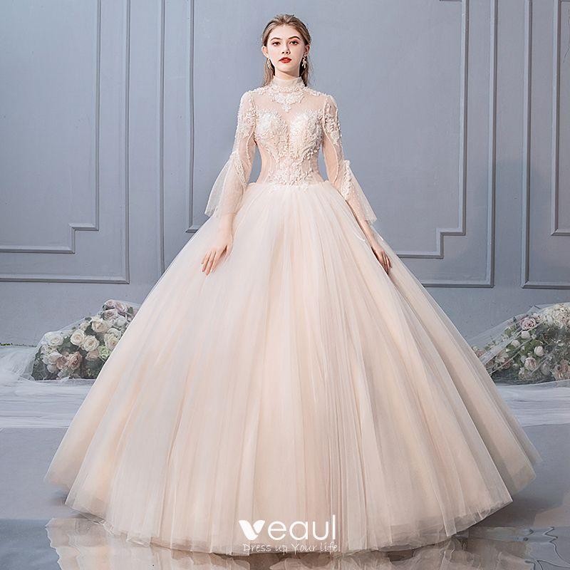 c630f7ac43 Elegant Champagne Wedding Dresses 2019 Ball Gown High Neck Beading ...