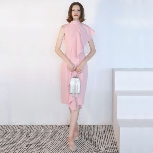 Modest / Simple Blushing Pink Evening Dresses  2018 High Neck Sleeveless Tea-length Formal Dresses