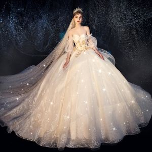 Bling Bling Champagne Wedding Dresses 2019 Ball Gown Sweetheart Detachable Puffy 1/2 Sleeves Backless Appliques Lace Glitter Tulle Chapel Train Ruffle