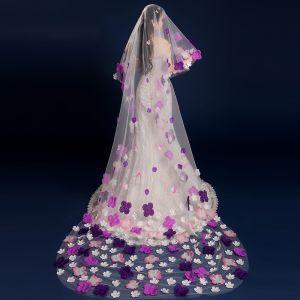 Bloemenfee Paarse Chapel Train Huwelijk Ruglooze Tule Bruidssluier 2018