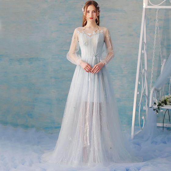 Elegant Himmelblå Sommer Selskabskjoler 2018 Prinsesse Med Blonder Blomsten Beading Scoop Neck Halterneck Langærmet Feje tog Kjoler