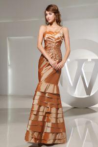 Sweetheart Spaghetti Sleeveless Backless Ruffle Beading Charmeuse Silk Woman Evening Dress