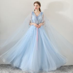 Chic / Beautiful Sky Blue Evening Dresses  2018 A-Line / Princess V-Neck Appliques Flower Sash Watteau Train Ruffle Backless Formal Dresses
