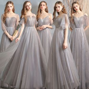 Affordable Grey Bridesmaid Dresses 2020 A-Line / Princess Backless Sequins Floor-Length / Long Ruffle