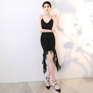 Sexy Black Evening Dresses  2018 Lace Spaghetti Straps Sleeveless Backless Short Formal Dresses