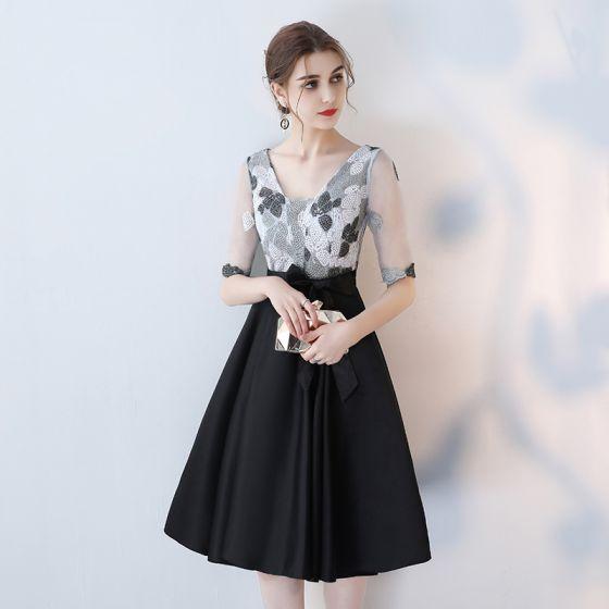Chic / Beautiful Black Graduation Dresses Homecoming Backless Sleeveless V-Neck Pearl Handmade  Charmeuse Formal Dresses