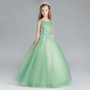 Elegant Sage Green Flower Girl Dresses 2017 Ball Gown Scoop Neck Sleeveless Appliques Flower Pearl Rhinestone Floor-Length / Long Ruffle Pierced Wedding Party Dresses