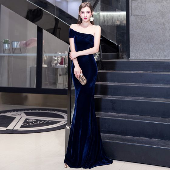 Elegant Solid Color Navy Blue Evening Dresses 2020 Trumpet