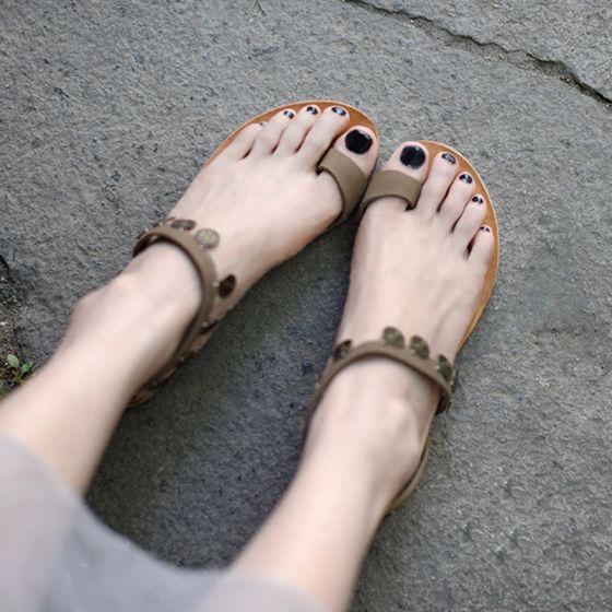 Vintage Bronze Sandalen Damen 2019 Strand Garten / Im Freien Leder Sommer Perlenstickerei Metall Flache Sandaletten Damenschuhe