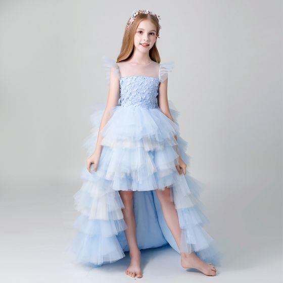 Piękne Błękitne Przezroczyste Sukienki Dla Dziewczynek 2019 Princessa Wycięciem Bez Rękawów Perła Asymetryczny Kaskadowe Falbany Sukienki Na Wesele