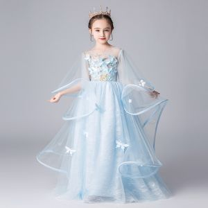 Elegant Sky Blue See-through Flower Girl Dresses 2019 A-Line / Princess Scoop Neck Bell sleeves Appliques Flower Floor-Length / Long Ruffle Backless Wedding Party Dresses