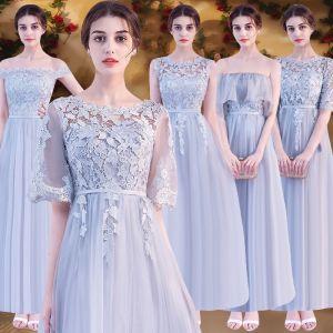 Chic / Belle Abordable Gris Robe Demoiselle D'honneur 2019 Princesse Ceinture Appliques En Dentelle Longue Dos Nu Robe Pour Mariage