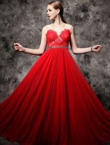 2016 Reizvolles Halsausschnitt Applique Feder Spitze Mit Perlen Strass Schärpe Backless Roten Abendkleid