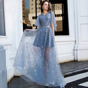 Affordable Sky Blue Evening Dresses  2019 A-Line / Princess V-Neck Short Sleeve Appliques Lace Metal Sash Floor-Length / Long Ruffle Backless Formal Dresses