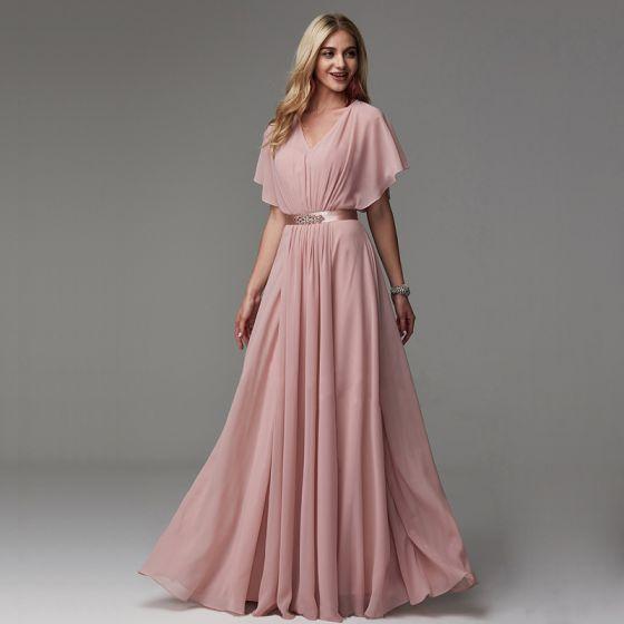 Classique Élégant Rougissant Rose Robe De Soirée 2020 Tulle V-Cou Princesse Longue Manches Courtes Soirée Robe De Ceremonie