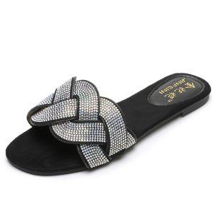 Bohemia Black Casual Rhinestone Flat Slipper & Flip flops 2020 Open / Peep Toe Womens Shoes