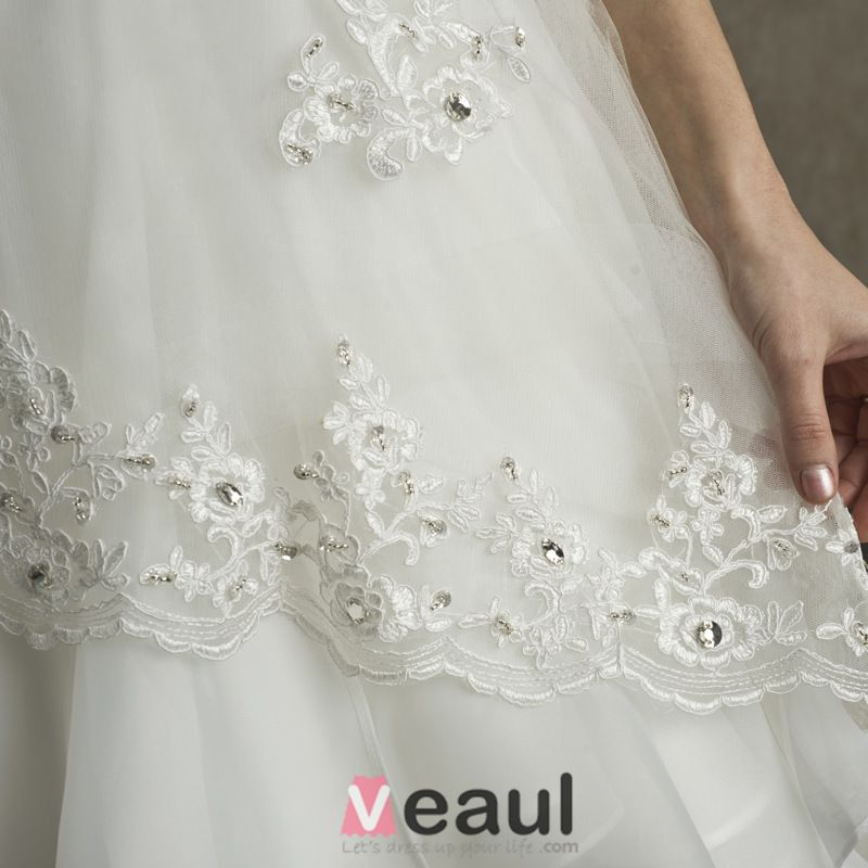 2015 A-line Shoulders Square Neckline Appliques Lace Satin Sash Ruffles Wedding Dress