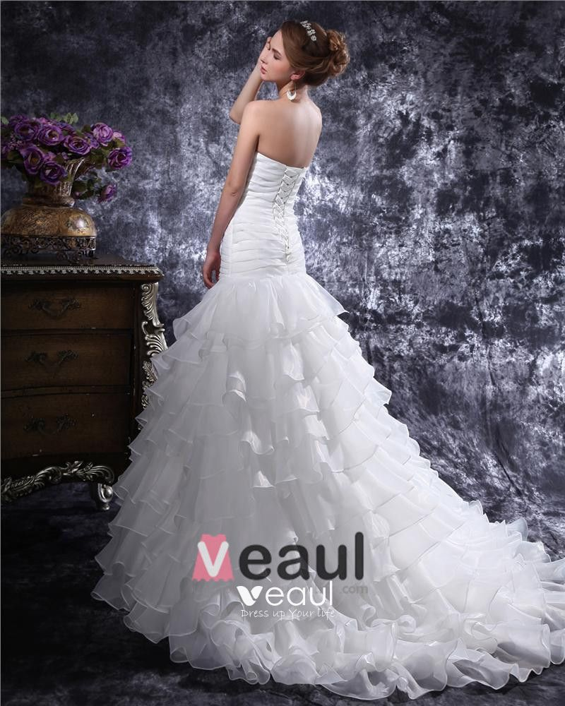 Sweetheart Beading Pleated Floor Length Organza Mermaid Wedding Dress