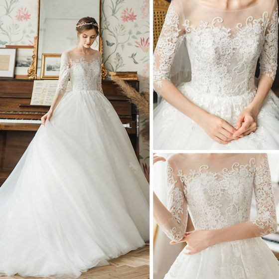 High-end Ivory See-through Bridal Wedding Dresses 2020 A-Line / Princess Square Neckline 3/4 Sleeve Backless Pierced Appliques Lace Court Train Ruffle