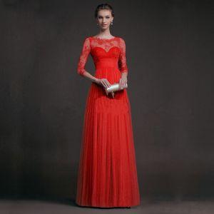Sexy Rode Lange Maxi-jurken 2018 A lijn 3/4 Mouwen Rits Omhoog U-hals Kant Doorboord Chiffon Vallen Straatkleding Dameskleding