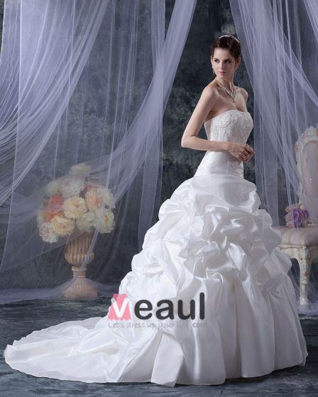 Stilig Satin Kjaereste Krusning Domstol A-linje Brudekjoler Bryllupskjoler