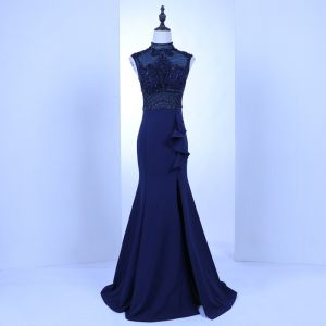 Vintage / Retro Royal Blue See-through Evening Dresses  2018 Trumpet / Mermaid High Neck Sleeveless Beading Pierced Sweep Train Ruffle Formal Dresses