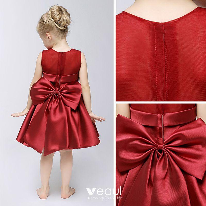 Modest / Simple Church Wedding Party Dresses 2017 Flower Girl Dresses Burgundy Short A-Line / Princess Cascading Ruffles Scoop Neck Sleeveless Bow Sash
